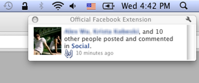 Official Facebook Google Chrome Browser Extension Notification