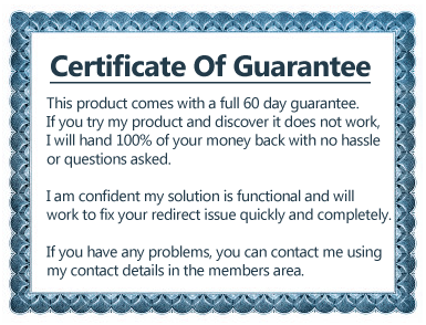 Google Redirect Virus Removal Certificate of Guarantee