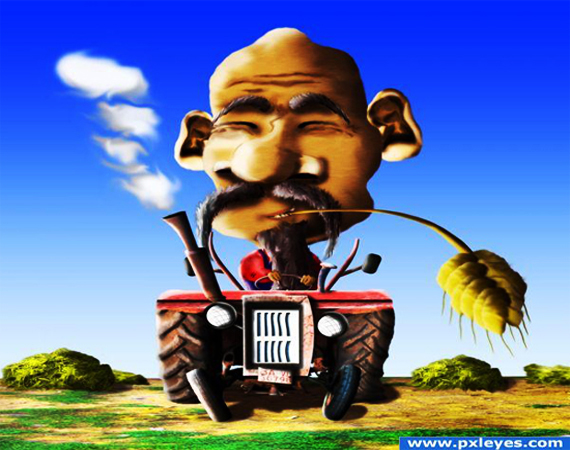 6 Funny farmer caricature