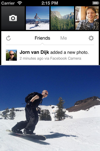 The Facebook Camera For iOS App Home Screen