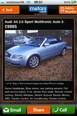 Motors.co.uk Car Search App Vehicle Profiles