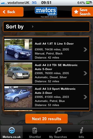 Motors.co.uk Mobile App Vehicle Search Results