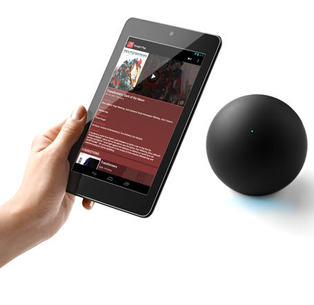 Google Nexus Q Paired With a Nexus 7 Android Tablet