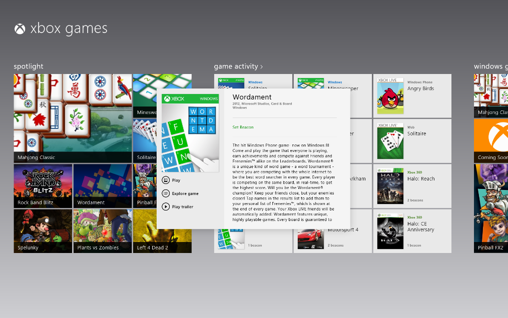 Xbox Games Service on Windows 8