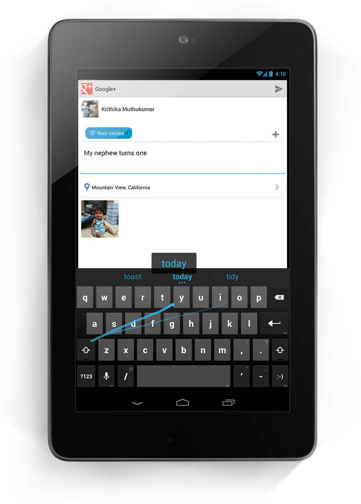 Gesture Typing in Android 4.2