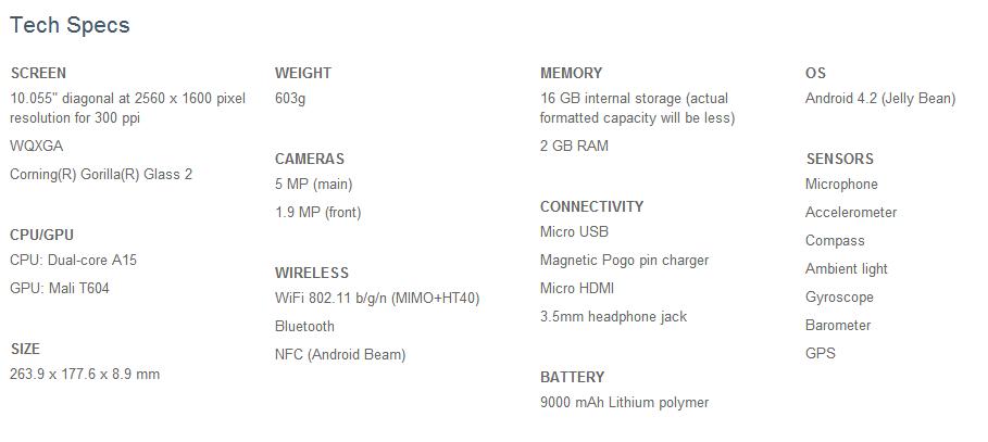 Google Nexus 10 Tech Specs Sheet