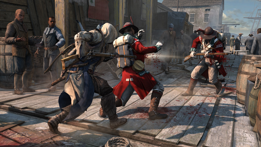 Assassins Creed III Connor Performing a Double Assassination With a Musket