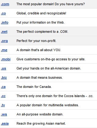 Available gTLD Domains