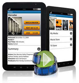 """The Samsung Galaxy Tab 7"""" media features in use"""
