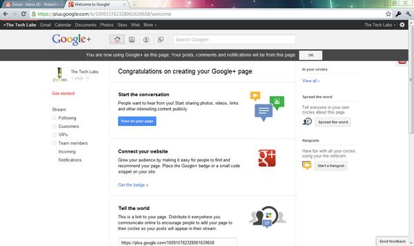 Create Google Plus Page