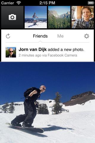 The Facebook Camera For iOS App Home Screen