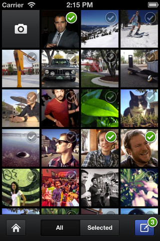 Menu For Importing Mobile Device Images in Facebook Camera For iOS App