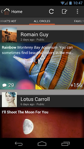 The new Google+ for Android User Interface - The News Feed