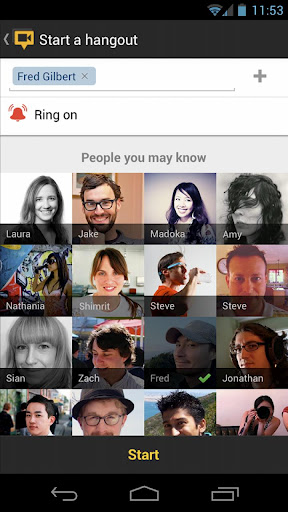 Google+ for Android, Starting a Hangout