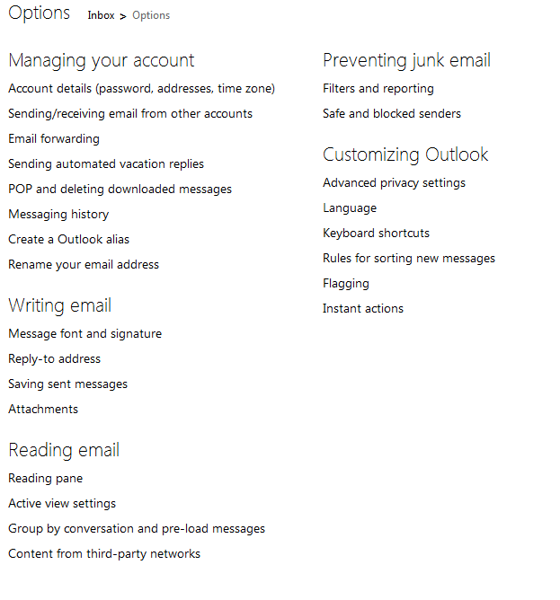 Additional Outlook Settings