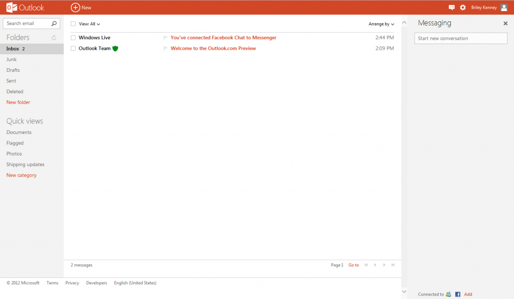 Outlook Inbox And User Interface