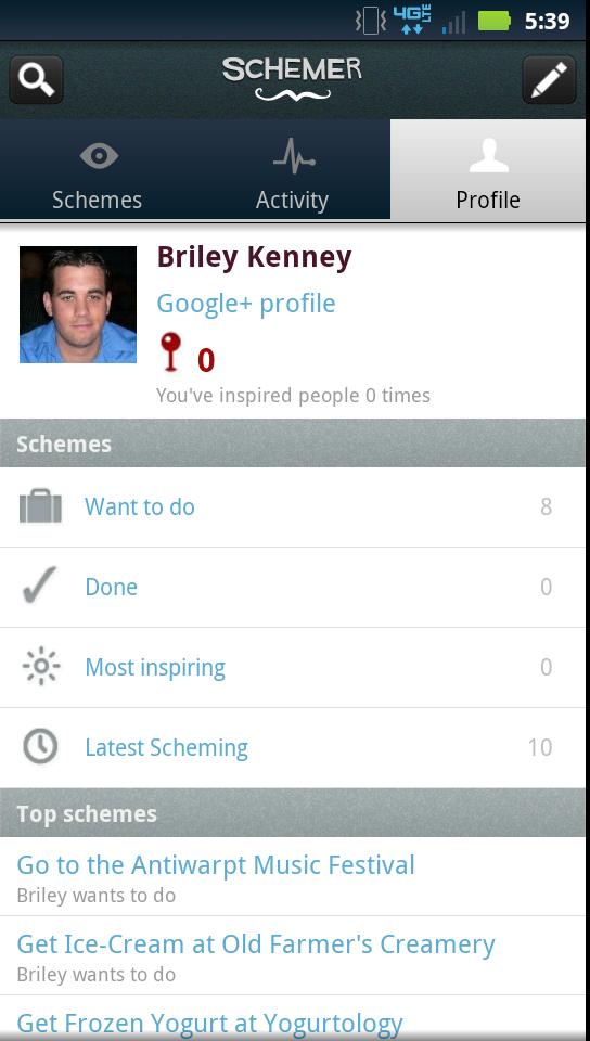 Schemer User Profile