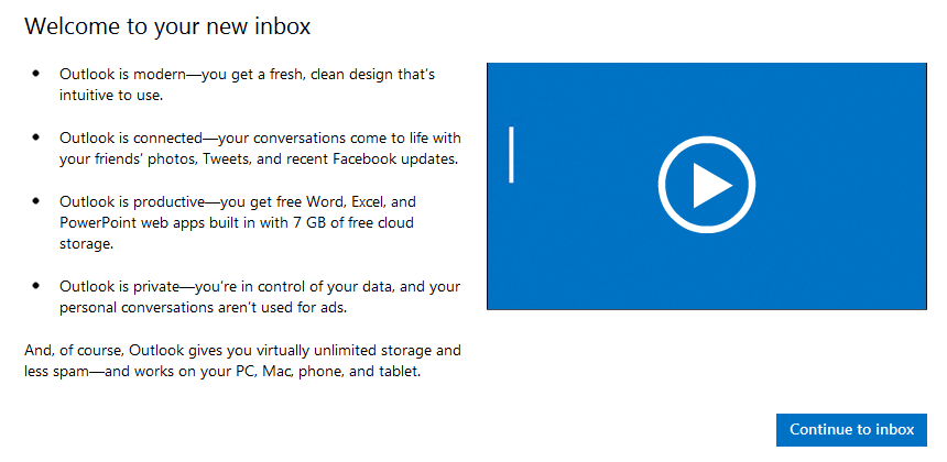 Welcome to Your New Outlook Inbox