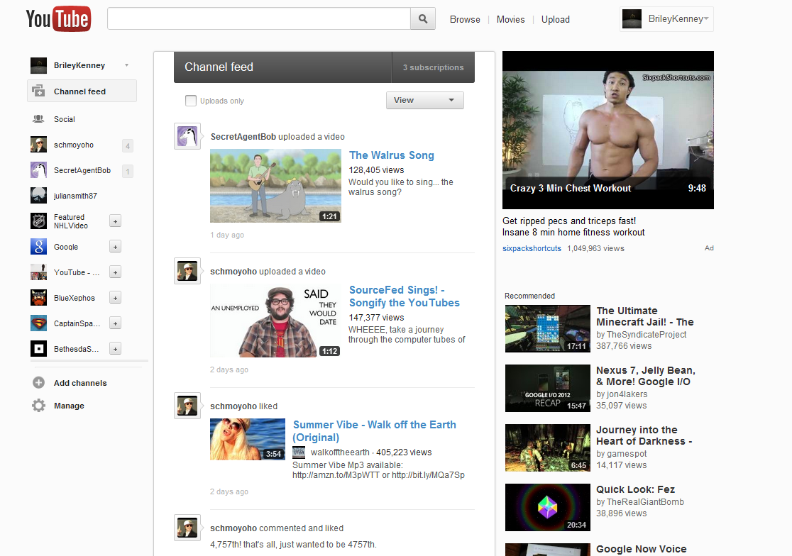 Youtube Dashboard Screenshot