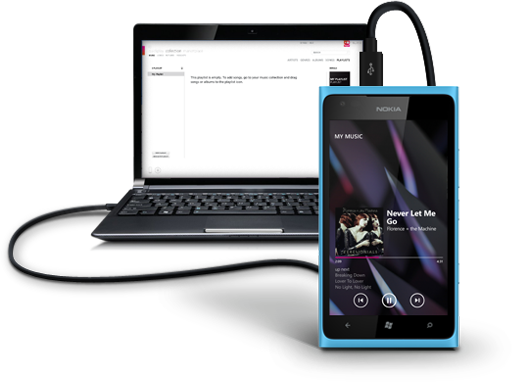 Nokia Music For Lumia Connected to PC