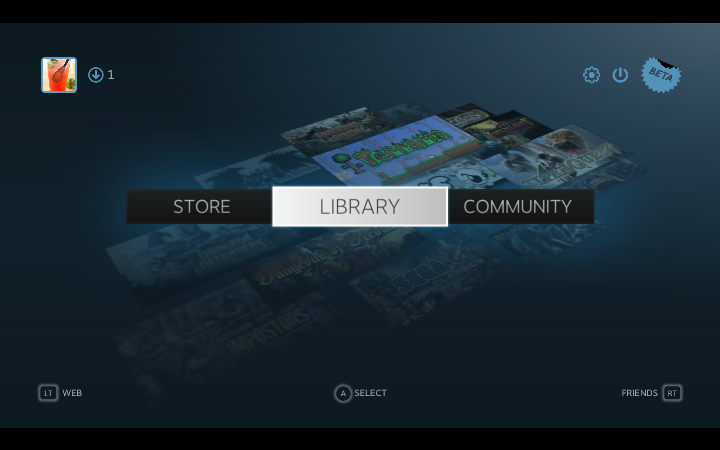 Steam Big Picture Mode Main Menu