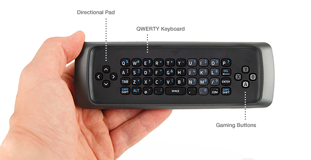 Vizio Co-Star QWERTY Keyboard on Back of Remote