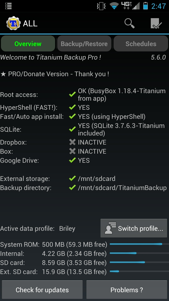 Titanium Backup Main Screen and Device Information
