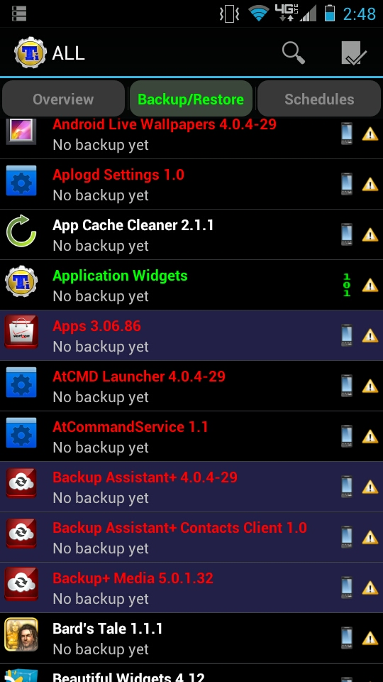 Titanium Backup Apps list with Backup/Restore Options