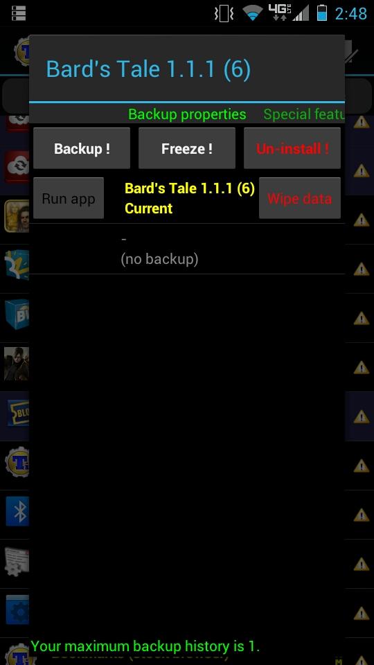 Freezing Apps with Titanium Backup