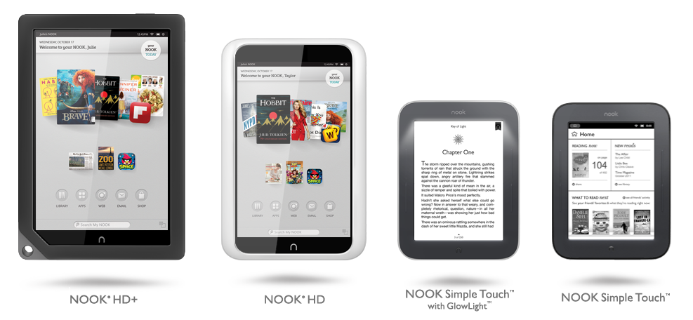 Barnes and Noble Nook Lineup