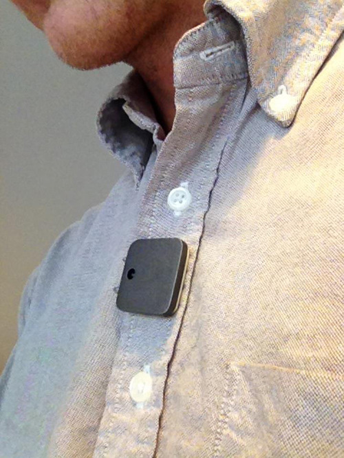 Early Memoto Prototype Being Worn by Tester