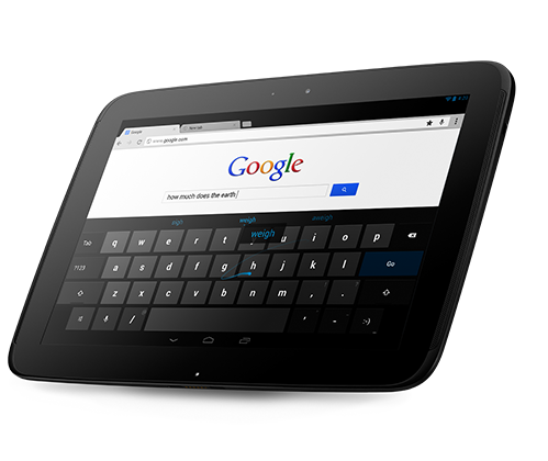 Google Nexus 10 With New Gesture Typing Support in Android 4.2