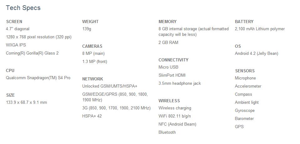 Google Nexus 4 Tech Specs Sheet