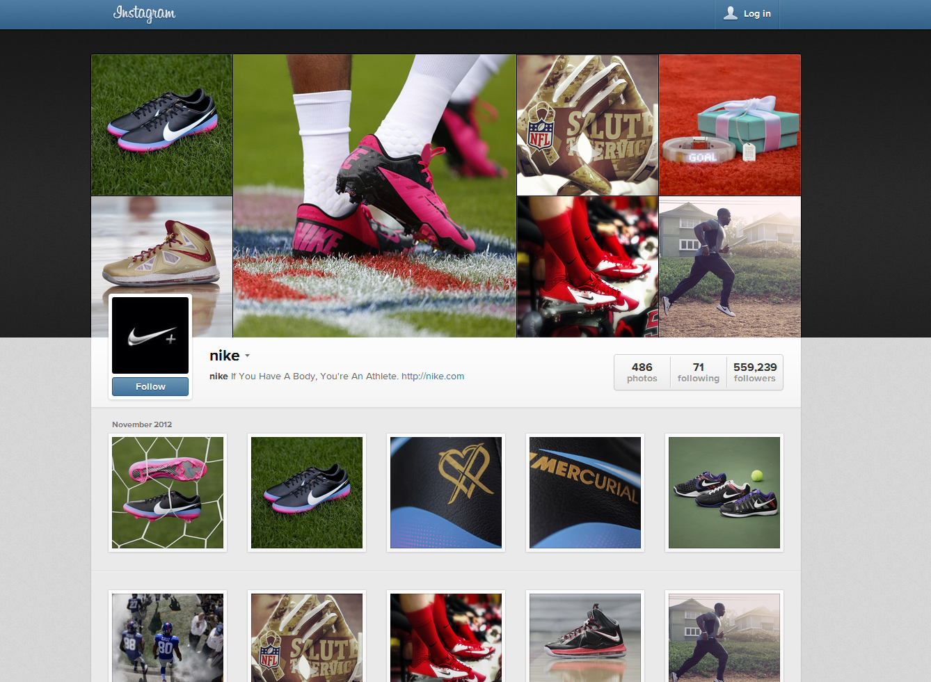 Instagram Web Profile Beta - Official Nike Account