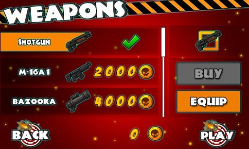 Weapon Store in Zombie Dash
